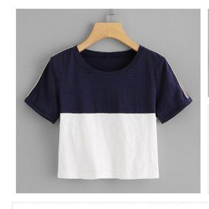 Blue & White Color Block Crop Tee #B4